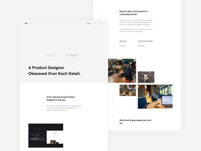 Personal Branding - A Product Designer Patryk Kopeć ux ui clean designer web design design graphic white space minimalism website patryk kopec product designer portfolio branding personal branding