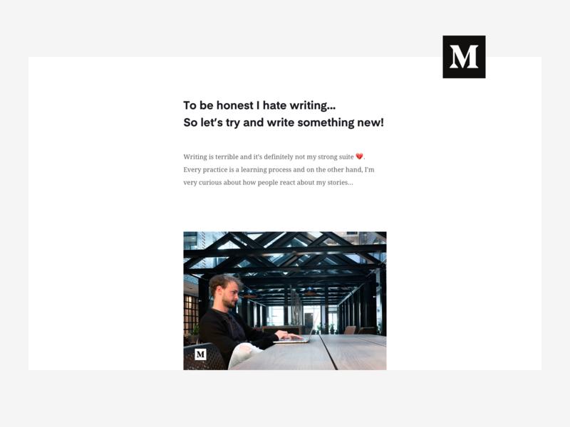 Medium Article writer article page clean whitespace design designer product designer persoban branding writing article medium