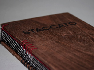 Staccato Book typography staccato illustration book cover red oak silk screen kettle stitch book binding wood spine
