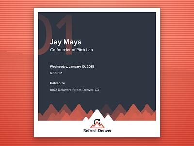Refresh Denver — January Event Card sketch card social media poster meetup event denver refresh