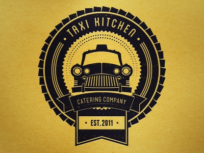 Taxi Kitchen Co. taxi kitchen catering company branding logo ribbon badge yellow cab car texture business identity established 2011 esquinca