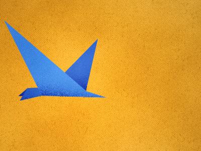 Burd bird flat illustration yellow texture blue bird half tone
