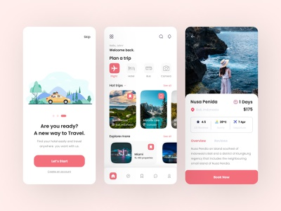 Travel service - Mobile App adventure book app booking maps ticket vacation ui design trips tourism tour travelling travel mobile app ux ui