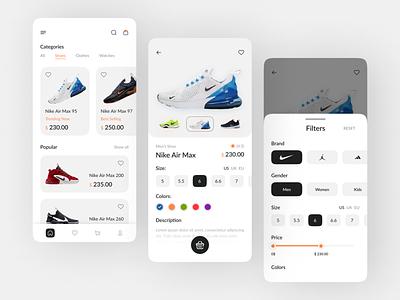 This is e-commerce App Design shops shop app minimal mobile ui ios shoes app nike store sneakers app shoe e-commerce mobile app design ux ui