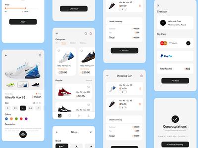 Shoes App Project shops shop app minimal mobile ui ios shoes app nike store sneakers app shoe e-commerce mobile app design ux ui