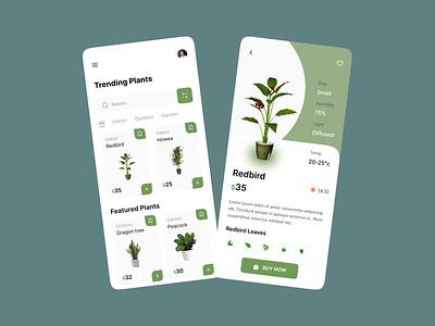 Plant Shop - Mobile App ecommerce store plant app plant care concept app ui ux design gardening gardens flowers modern interface app clean green mobile eco planting application