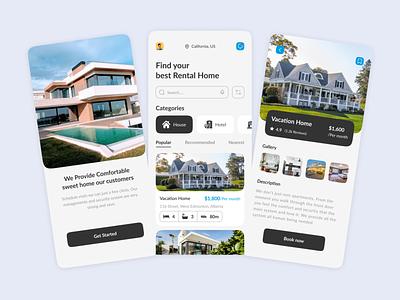 Real Estate Rental App user mobile design popular virtual tour artificial intelligence rental app home rent appartment rent app rental rent property real estate clean minimal innovation ux ui