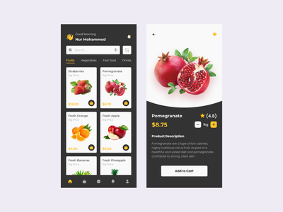 Grocery Mobile App online shop store app grocery store fresh fruit ecommerce product design grocery food food app food order food delivery vegetables shop shopping mobile app mobile ui mobile design food delivery app fruits food and drink