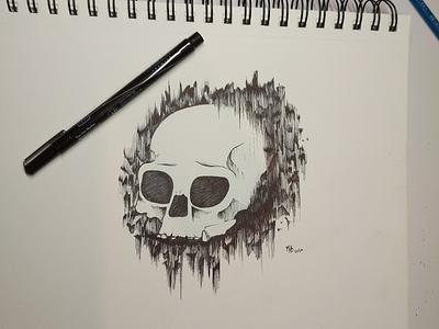 Skull Warm-up minimal inking design illustration