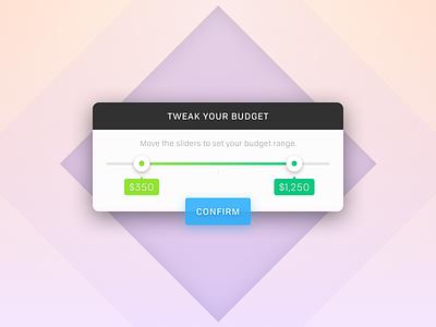 Budget Tweaker range mobile ui daily popup modal edit tweak budget slider