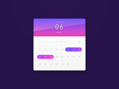 Date Range calendar ui daily range picker date