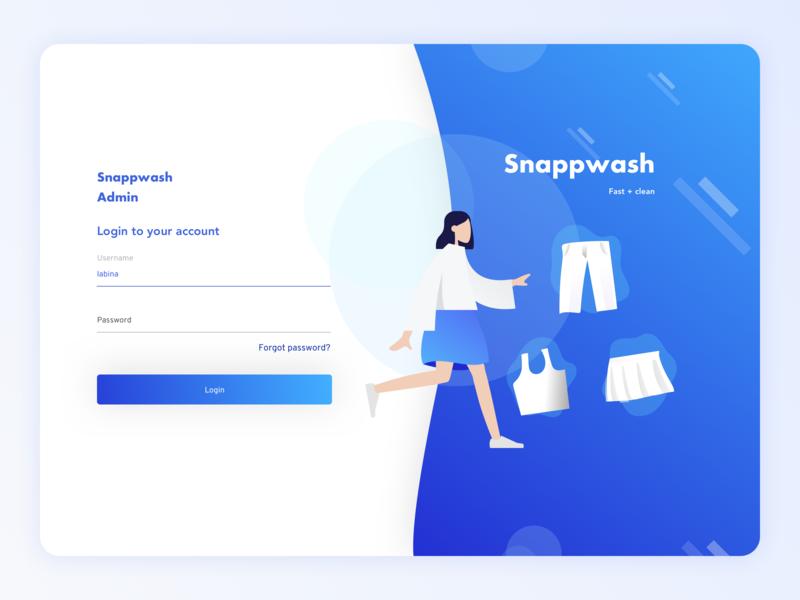 Snappwash Laundry - Web Admin login web design uiux clean dashboard design ui website web