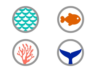 Ocean Icons icons waves fish coral reef whale fluke
