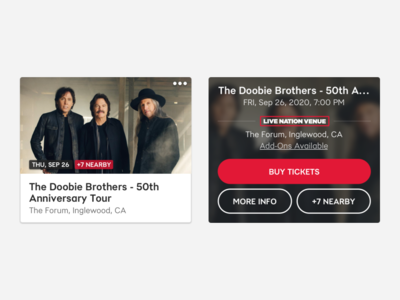 Event Cards ui events concerts doobie brothers black red live nation