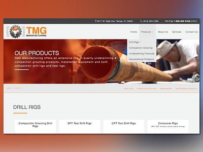 Web Design TMG Manufacturing website web site web ui orange web design ui web