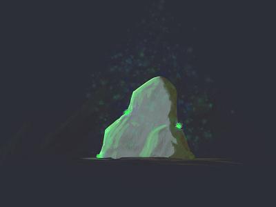 Mist Rock (First Digital Painting) justforfun drawing landscape ancient mist illustration rock digital paint wacom