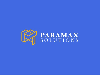 Corporate Logo Paramax Solutions logo lines isometric amber royal blue modern corporate
