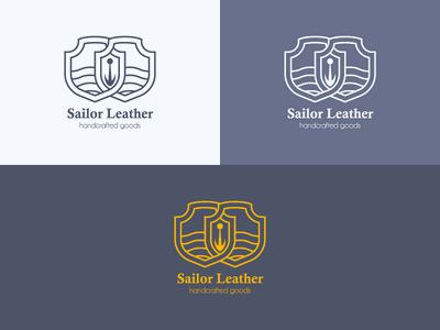 Sailor Leather Logo (wip) sea shield skiving boats lined logo leather sailor
