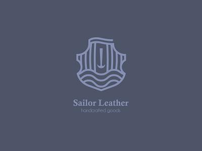Sailor Leather Handcrafted Goods LOGO V2 lined line logo logotype sailor ocean sea shield stamp boat logo