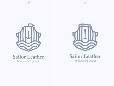 A or B Logo sea sailor ocean line logo shield stamp lined boat