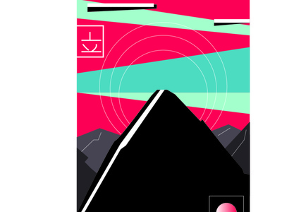 sky above earth below,peaches within sky mountain modern minimal icon design noob illustration flatdesign