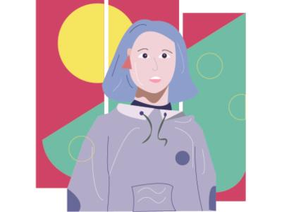 girl in the blue jacket graphic design girl modern minimal design illustration flatdesign