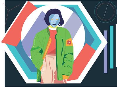 Lisa abstract clothing jacket girl pop icon graphic design noob modern minimal design illustration flatdesign