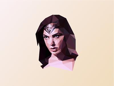 Polygon Wonder Woman mesh gal gadot low poly wonder woman polygon portrait poly illustrator geometric