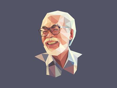Polygon Hayao Miyazaki Portrait low poly hayao miyazayki polygon portrait ghibli poly illustrator geometric