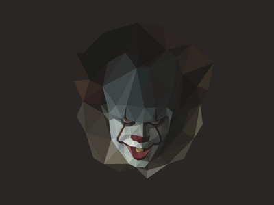 🎈Pennywise 🤡 geometric polygon portrait poly low poly illustrator stephen king clown pennywise it horror
