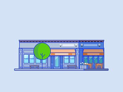 🥐 La Boulangerie blue flat san francisco shop minimal line pastry building neon contrast