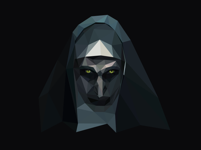 ⛪️The Nun illustrator geometric horror poly portrait poly low poly polygon halloween the nun