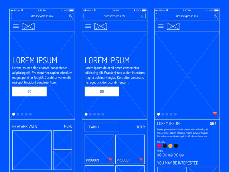Dress Express Wireframe ui e-comerce wireframe