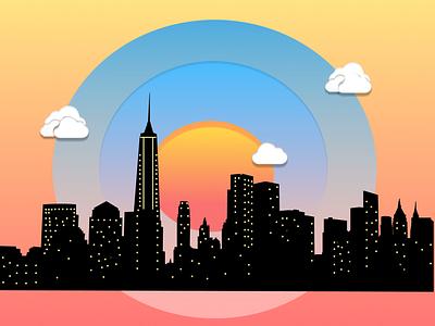New york downtown skyline of figma illustration illustration city skyline figma illustration city illustration