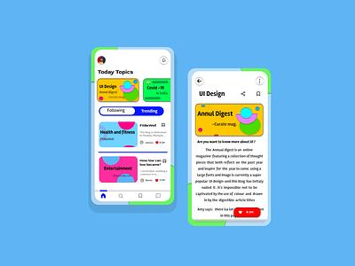Blog app concept ux app design app ui design blog app