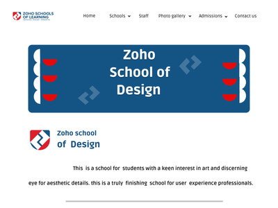 zoho schools website landing page of school of design zoho app design web