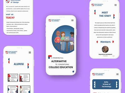 Zoho schools website mobile screen design uidesign zoho