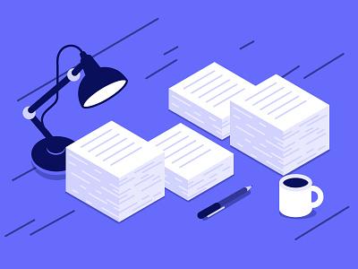 isometric desk pen lamp desk paper isometry