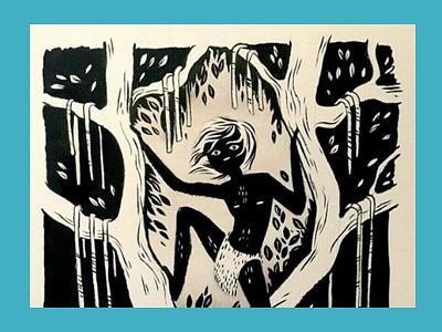 Mowgli monochrome illustration traditional tree mowgli