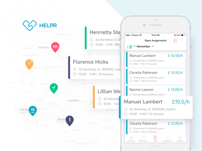 Helpr – Mobile Assignments cards map ios mobile ui ux