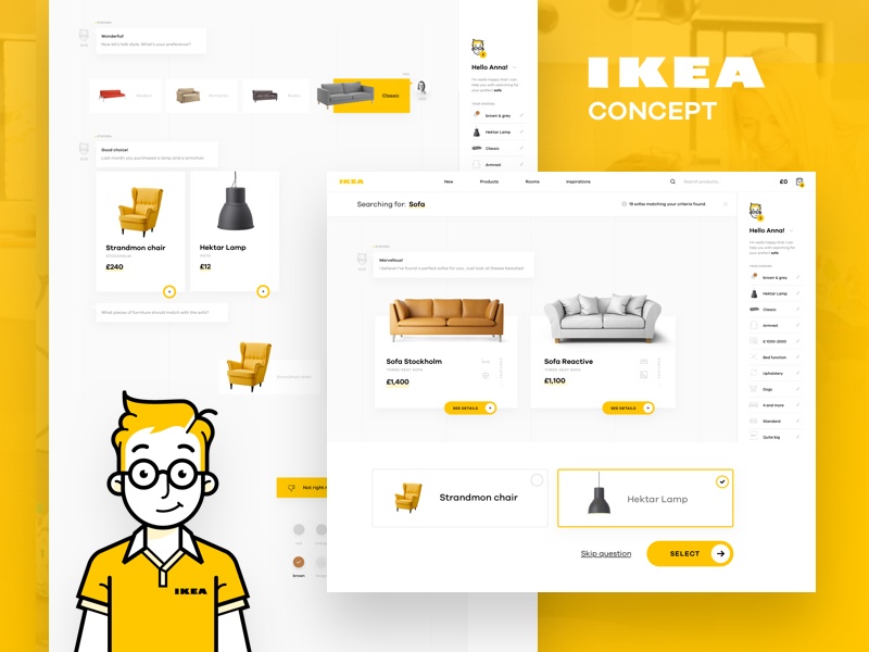 IKEA Online Experience Concept – AssistBot shop redesign product landing interior ikea furniture e-commerce bot