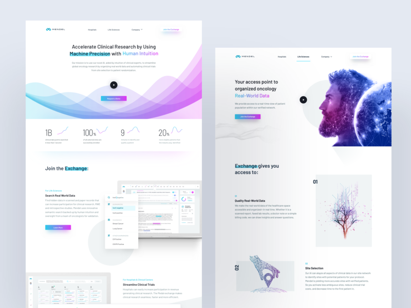 Mendel AI – Oncology Research – Live Sciences Site medic app oncology research health medicine website ux ui