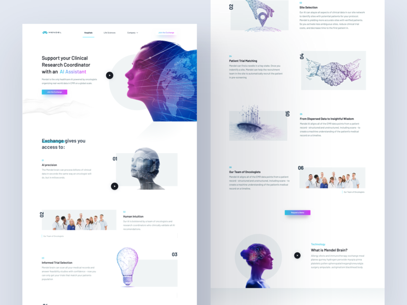 Mendel AI – Oncology Research – Hospitals' Site ui ux website medicine health research oncology app medic
