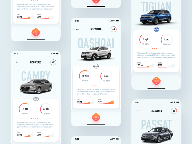 CarLens – Library Overview dashboard recognition ar design app android ios ux mobile interaction ui car cars