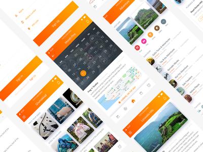 Ghumakkad app UI Kit screens - Nishant Dogra