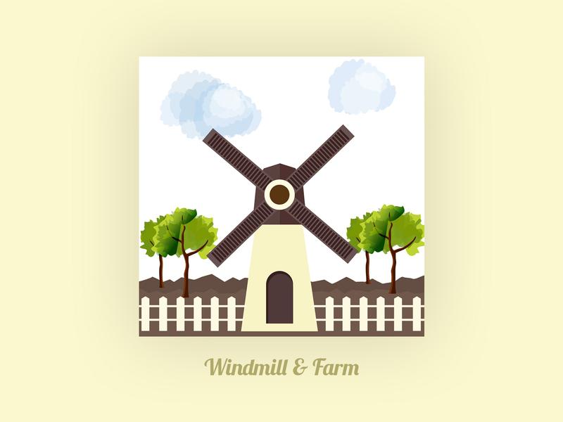 Windmill And Farm dograsweblog design thinking creativity illustration art farm house agriculture farming farm yard farm windmill windmills
