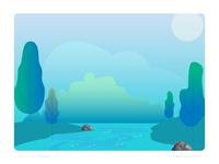 Beauty of lake - Nature illustration