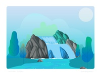 Lake and a waterfall - Nature illustration