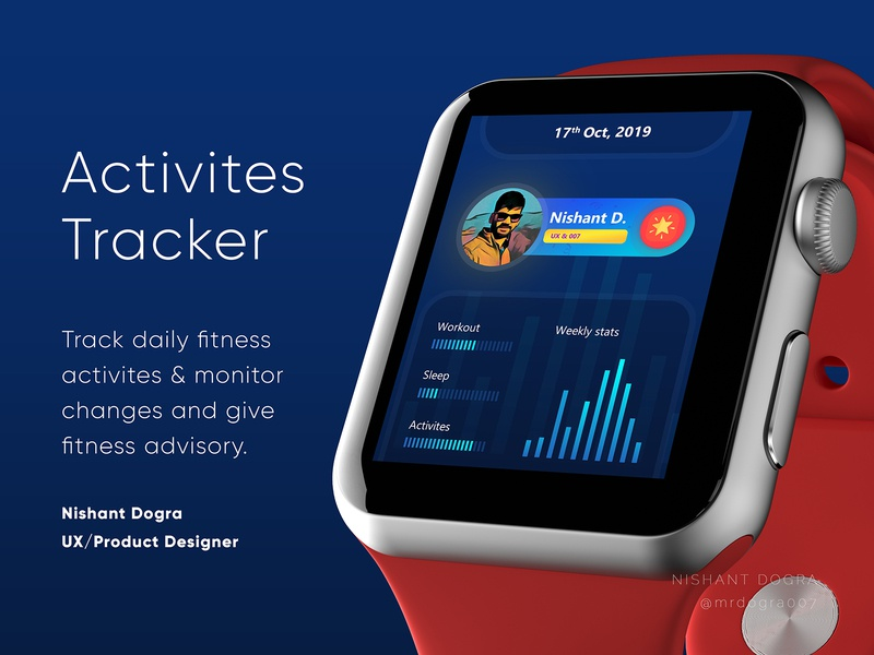 Activities Tracker Application UI smartwatch application ui monitoring workout healthcare fitness activities tracker