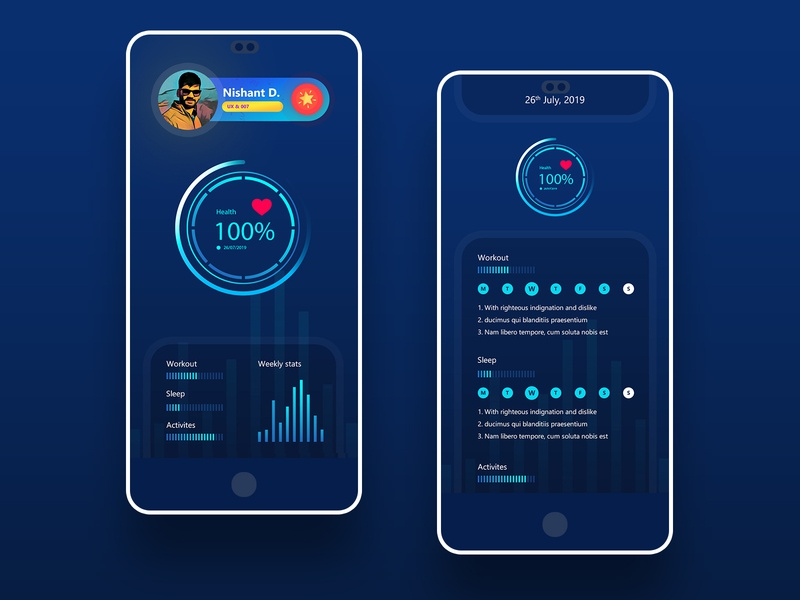 Activities Tracker Application UI product design healthcare fitness activities tracker health app branding dograsweblog application design user interface user experience design thinking